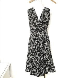 EUC WHBM Floral Crisscross Fit & Flare Dress Sz 6